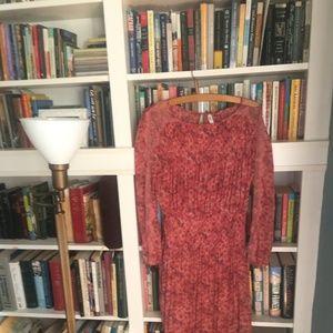 FREE PEOPLE Long Sleeve Red Chiffon Dress